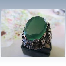 Vintage Sterling Ornate Green Stone Ring