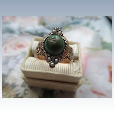 Antique Victorian 10K Turquoise Seed Pearl Ring  1883 HB Makers Mark