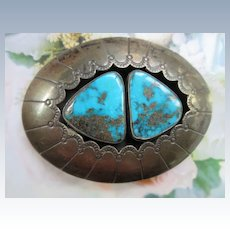 Vintage Native American Turquoise Sterling Shadowbox Belt Buckle