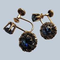 Vintage 10K Sapphire Paste Screw Back Earrings