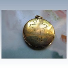 Vintage Religious Locket with Medal  Gold Fill