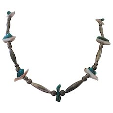 Vintage Sterling Native American Mother Of Pearl Turquoise Necklace
