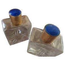 Vintage Perfume Scent Bottles Guilloche Enameled Tops