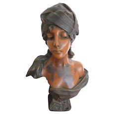 Antique Art Nouveau Chalk Ware Bust Millie Et Une Nuits
