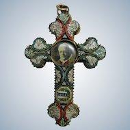 Antique circa 1910 Micro Mosaic Cross Pendant