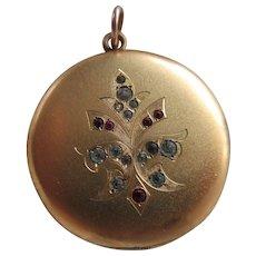 Antique Edwardian Paste Locket in Gold Fill