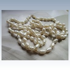 Vintage Estate Long Fresh Water Pearl Necklace