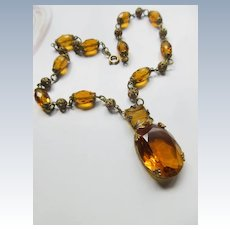 Vintage 30s Czech Necklace with Faceted Crystals