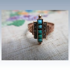 Antique Victorian 10K Persian Turquoise Ring