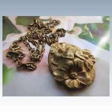 Vintage Brass Long Locket Necklace Flowers