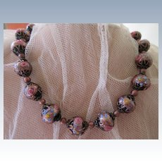 Vintage Art Glass Wedding Cake Bead Necklace