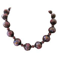 Vintage Art Glass Wedding Cake Bead Necklace