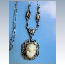 Vintage 30s Deco Sterling Cameo Necklace