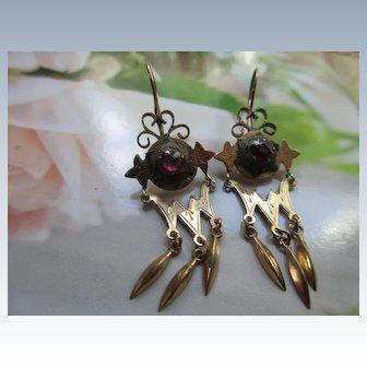 Antique Long Dangle Pierced Earrings in Gold Fill