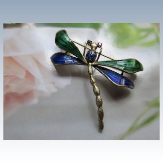 Vintage 14K Enameled Ruby Sapphire Dragonfly Pin