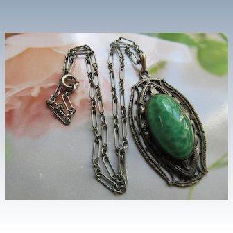 Vintage Deco Art Glass Necklace Paper Clip Chain