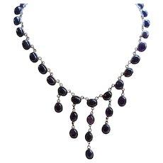 Vintage 16'' Silver Amethyst Bib Necklace