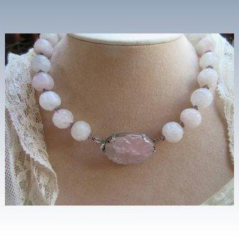 Vintage Deco Carved Rose Quartz Necklace