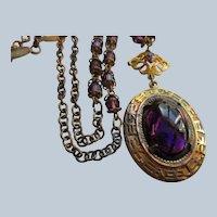 Vintage Purple Crystal 1930s Necklace