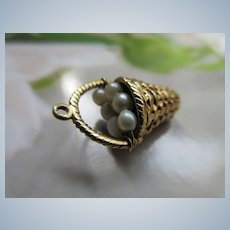 Older Vintage 14K Basket of Cultured Pearls Charm