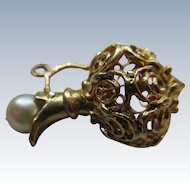 Vintage 10K Cultured Pearl Perfume Decanter Charm
