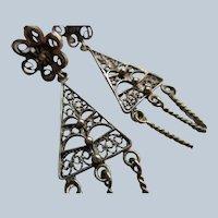 Vintage 800 Silver Filigree Pierced Earrings