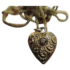 Victorian 10K Diamond Puffy Heart Charm Necklace Etruscan Revival Design