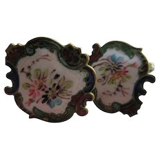 Turn Of The Century Enameled Screw Back Earrings