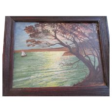 Older Vintage Folk Art Painting Oak Frame