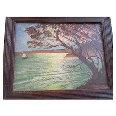 Older Vintage Folk Art Painting Oak Frame