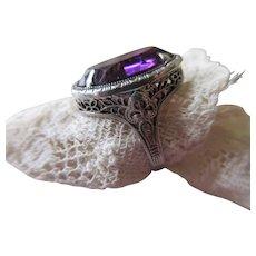 Vintage Sterling Filigree Faceted Crystal Ring