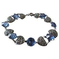 Vintage Deco 30s Filigree Blue Crystal Bracelet