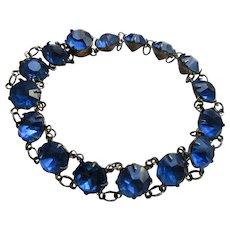 Vintage Deco Sterling Blue Crystal Bracelet