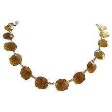 Vintage Open Back Amber Crysal Necklace