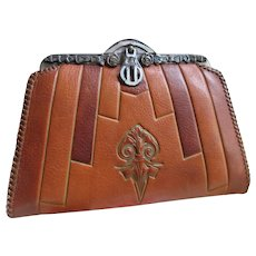 849f91e141 Meeker Tooled Leather Clutch Belt Purse Circa 1910
