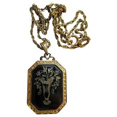 Vintage Deco Enameled Locket Necklace in Gold Fill