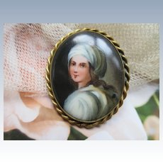 Antique Hand Painted Portrait on Porcelain Brooch