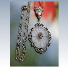 Vintage Deco Sterling Camphor Glass Necklace