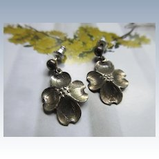 Vintage Sterling NYE Floral Pierced Earrings