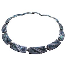 Vintage Taxco Mexican Sterling Abalone Necklace Hallmarked