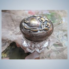 Early 1900s Dresser Jar Repousse Silver Plate Top