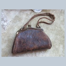 Antique Doll's Leather Fashion Purse with Tiny Mirror