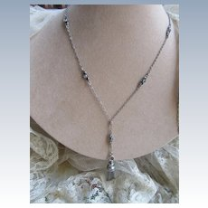 Older Vintage Silver Paste Tassel Necklace