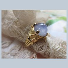 Antique Art Nouveau 18K Natural Star Sapphire Ring French Eagle Hallmark