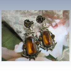 Vintage Czech Drop Screw Back Earrings