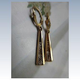 Antique Victorian 18K Pierced Earrings