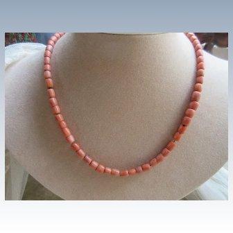 Older Vintage Circa 1930 Caeved Coral Bead Necklace