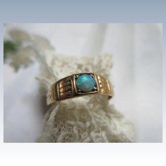 Antique 10K Black Opal Pinky Ring