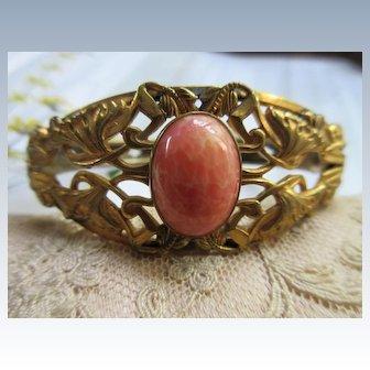 Antique Art Nouveau Bangle Bracelet in Gold Fill