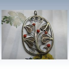 Vintage Sterling Coral Pendant  Holland